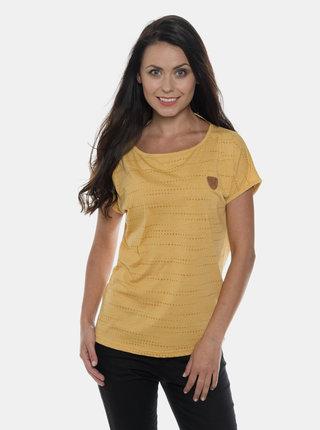 Hořčicové dámské vzorované tričko SAM 73