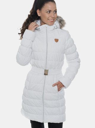 Bílý dámský prošívaný voděodolný zimní kabát s umělým kožíškem SAM 73