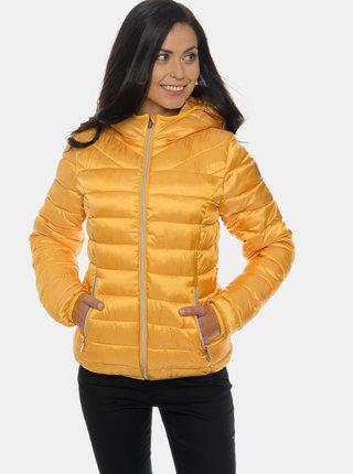 Hořčicová dámská prošívaná zimní bunda SAM 73