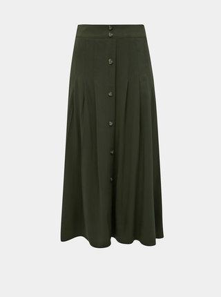 Khaki midi sukně s knoflíky Dorothy Perkins