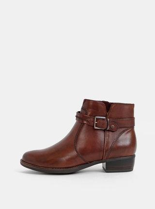 Tmavohnedé kožené kotníkové topánky Tamaris