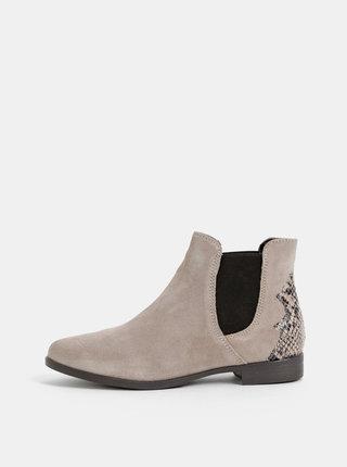 Šedé semišové chelsea boty s hadím vzorem Tamaris