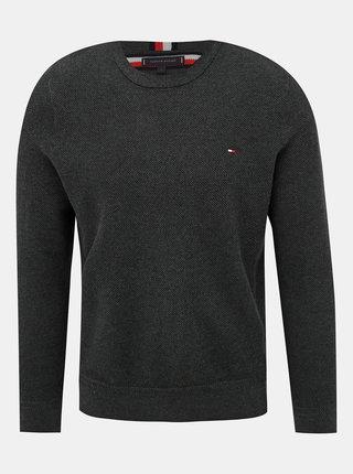 Tmavošedý pánsky basic sveter Tommy Hilfiger