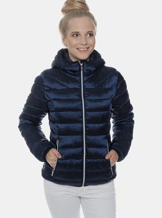 Tmavomodrá dámska metalická prešívaná zimná bunda SAM 73