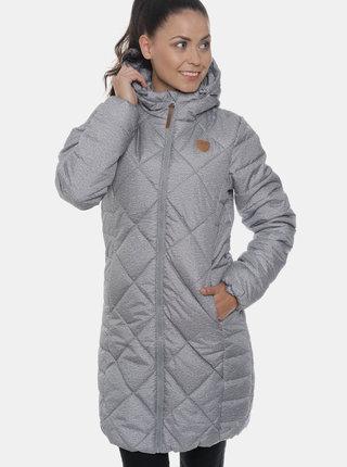 Světle šedý dámský voděodolný prošívaný zimní kabát SAM 73