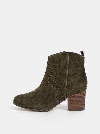 Kaki semišové kotníkové topánky Tamaris