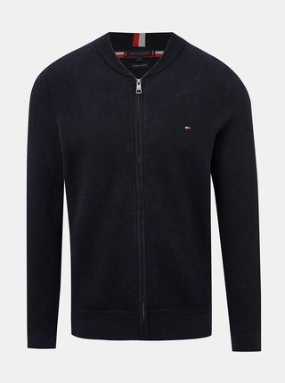 Tmavomodrý pánsky sveter na zips Tommy Hilfiger