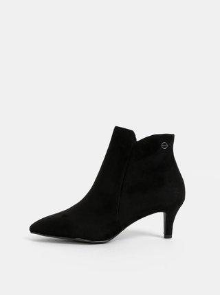 Čierne kotníkové topánky v semišovej úprave Tamaris
