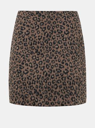 Hnědá sukně s leopardím vzorem VILA Junila