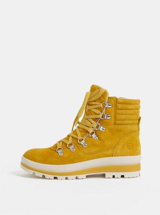 Horčicové semišové kotníkové topánky Tamaris
