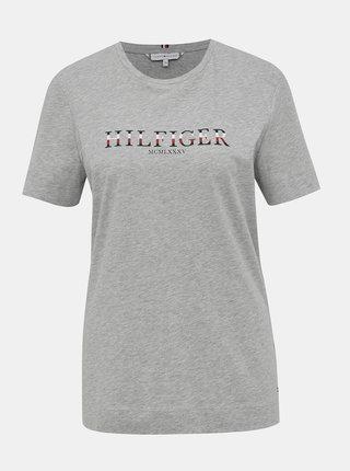 Šedé dámske tričko s potlačou Tommy Hilfiger