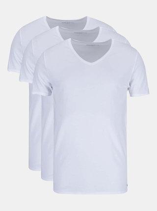 Kolekcia troch pánskych bielych tričiek do V Tommy Hilfiger