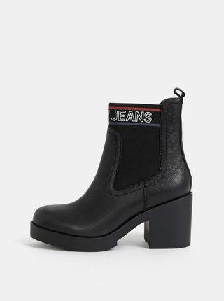 Černé dámské kožené chelsea boty Tommy Hilfiger Corporate