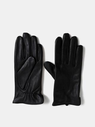 Čierne kožené rukavice Pieces Nellie