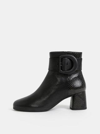 Čierne dámske kožené kotníkové topánky s hadím vzorom Geox Calinda