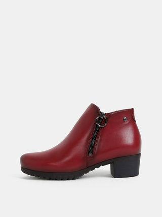 Červené kožené kotníkové topánky OJJU
