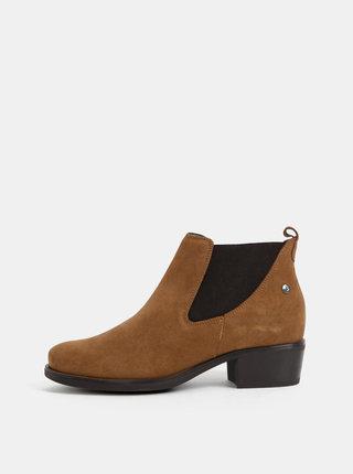 Hnědé semišové chelsea boty OJJU
