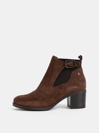 Tmavě hnědé semišové chelsea boty OJJU