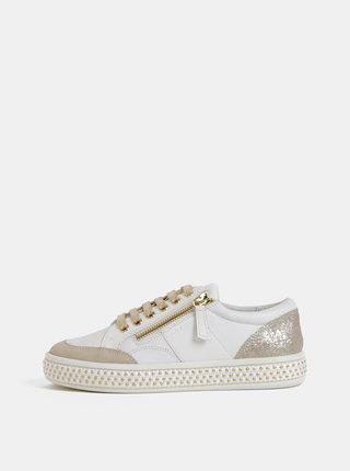 Bílé dámské kožené tenisky s detaily ve zlaté barvě Geox Leelu