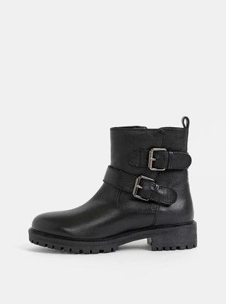 Čierne dámske kožené kotníkové zimné topánky Geox Hoara