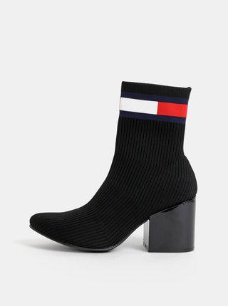 Čierne dámske členkové topánky Tommy Hilfiger Flag Sock