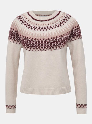 Béžový vzorovaný svetr ONLY Eyla