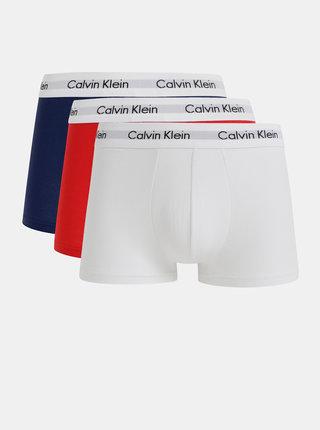 Súprava troch boxeriek v bielej, červenej a modrej farbe Calvin Klein Underwear