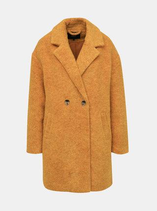 Horčicový kabát s prímesou vlny ONLY Nina