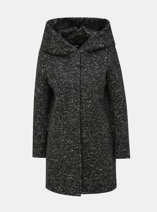 Tmavošedý žíhaný kabát s prímesou vlny ONLY Sedona