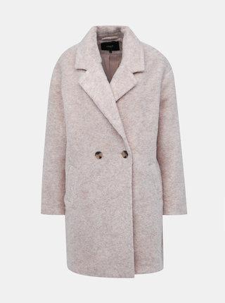 Béžový kabát s příměsí vlny ONLY Nina