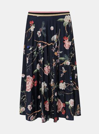 Tmavomodrá kvetovaná plisovaná midi sukňa Femi Stories Kosi