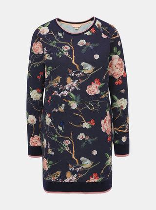 Tmavomodré kvetované mikinové šaty Femi Stories Sofi