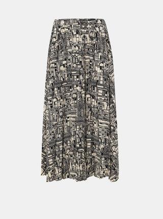 Čierno-krémová vzorovaná maxi sukňa Selected Femme Firma