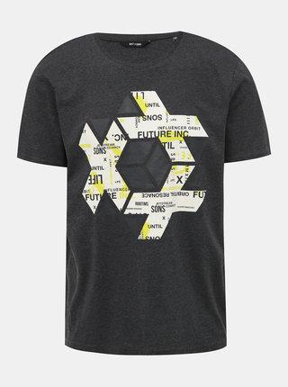 Tmavě šedé tričko s potiskem ONLY & SONS Abraham