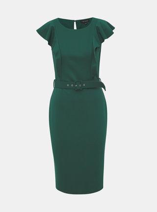 Tmavě zelené pouzdrové šaty s volány Dorothy Perkins