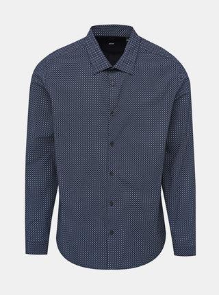 Tmavomodrá vzorovaná slim fit košeľa Burton Menswear London