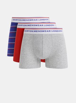 Sada tří vzorovaných boxerek v modré, červené a šedé barvě Burton Menswear London
