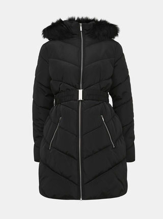 Čierny zimný prešívaný tehotenský kabát s umelým kožúškom Dorothy Perkins Maternity