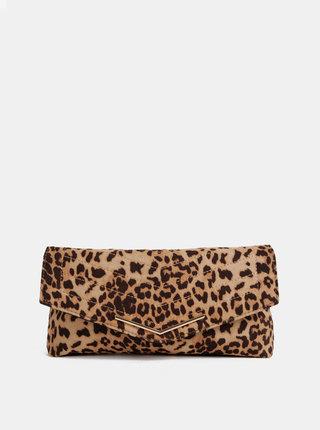 Svetlohnedá listová kabelka s leopardím vzorom v semišovej úprave Dorothy Perkins