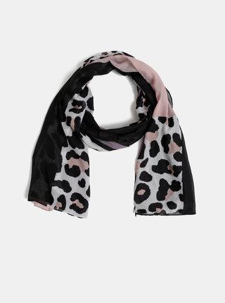 Ružovo-čierna šatka s leopardím vzorom Dorothy Perkins