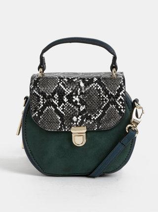 Tmavozelená crossbody kabelka v semišovej úprave s hadím vzorom Bessie London