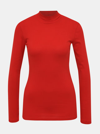 Červené basic tričko so stojáčikom Dorothy Perkins