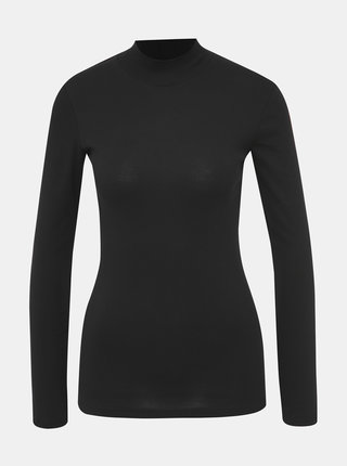 Čierne basic tričko so stojáčikom Dorothy Perkins