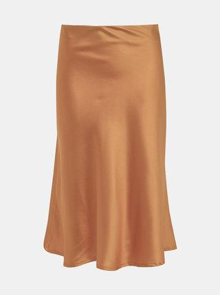 Horčicová saténová sukňa Haily´s Serena
