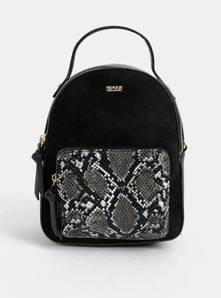 Černý elegantní batoh s hadím vzorem a detaily v semišové úpravě Bessie London