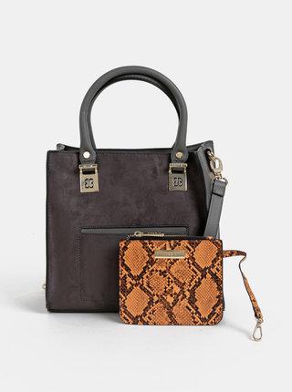 Šedá kabelka s púzdrom a detailmi v semišovej úprave Bessie London