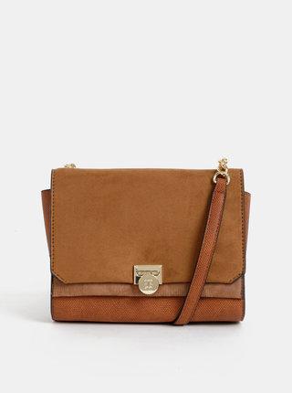 Hnedá crossbody kabelka s klopou v semišovej úprave Bessie London