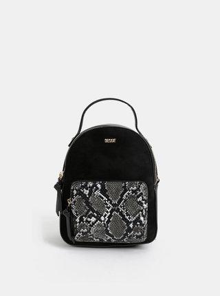 Čierny batoh s hadím vzorom a detailmi v semišovej úprave Bessie London