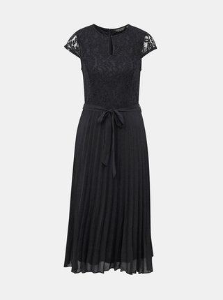 Čierne midišaty s plisovanou sukňou a priestrihom v dekolte Dorothy Perkins