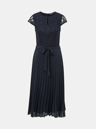 Tmavě modré midišaty s plisovanou sukní a průstřihem v dekoltu Dorothy Perkins